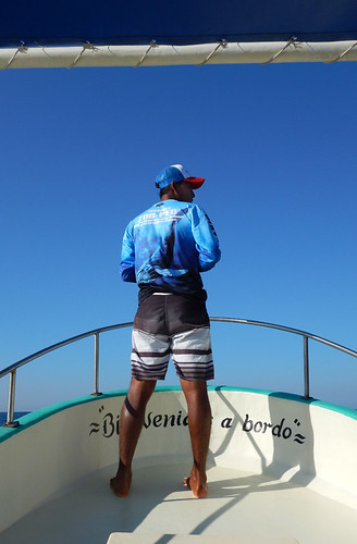 Our lookout for whales on our whale watching boat in Puerto Escondido, Mexico