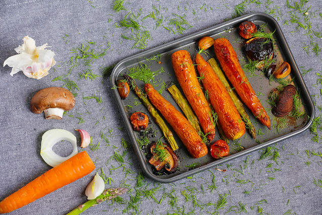 Baked vegetables and carrots