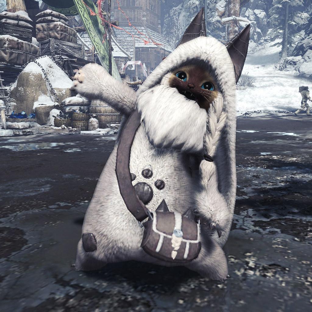 萌度滿點!《魔物獵人世界:ICEBORNE》艾露貓專用裝備「猛牛龍 貓包」實體化(オトモ装備「EXバフバロネコα」ショルダーバッグ)
