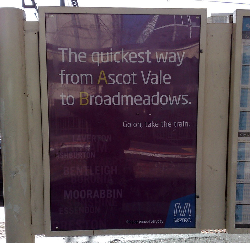 Metro: the quickest way from Ascot Vale to Broadmeadows (December 2009)