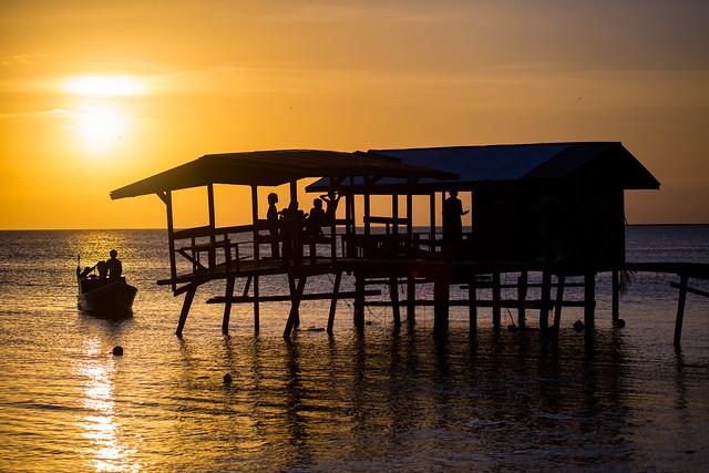 A Boat & Sunset On Mantanani Island, Borneo