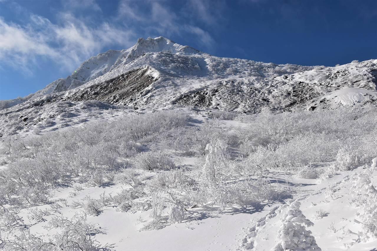 樹氷と磐梯山