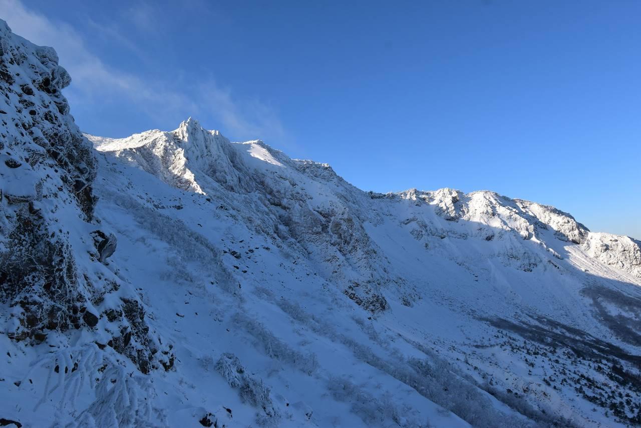 冬の磐梯山登山 雪の天狗岩