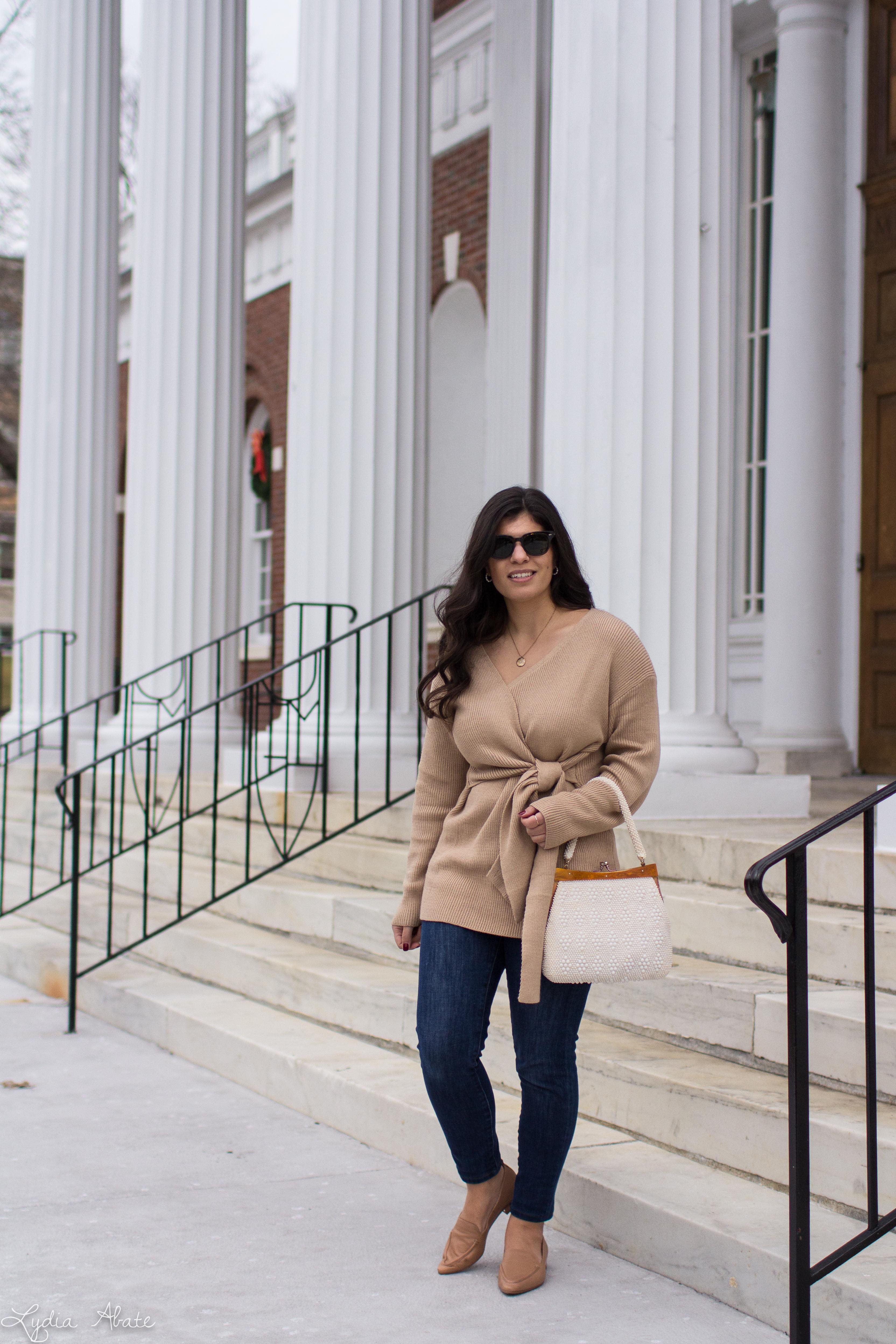 camel wrap sweater, jeans, tan loafers, vintage beaded bag-5.jpg