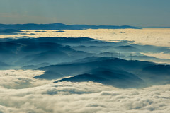 clouds, mountains, flight, aerial, wind turbines, black forest, germany