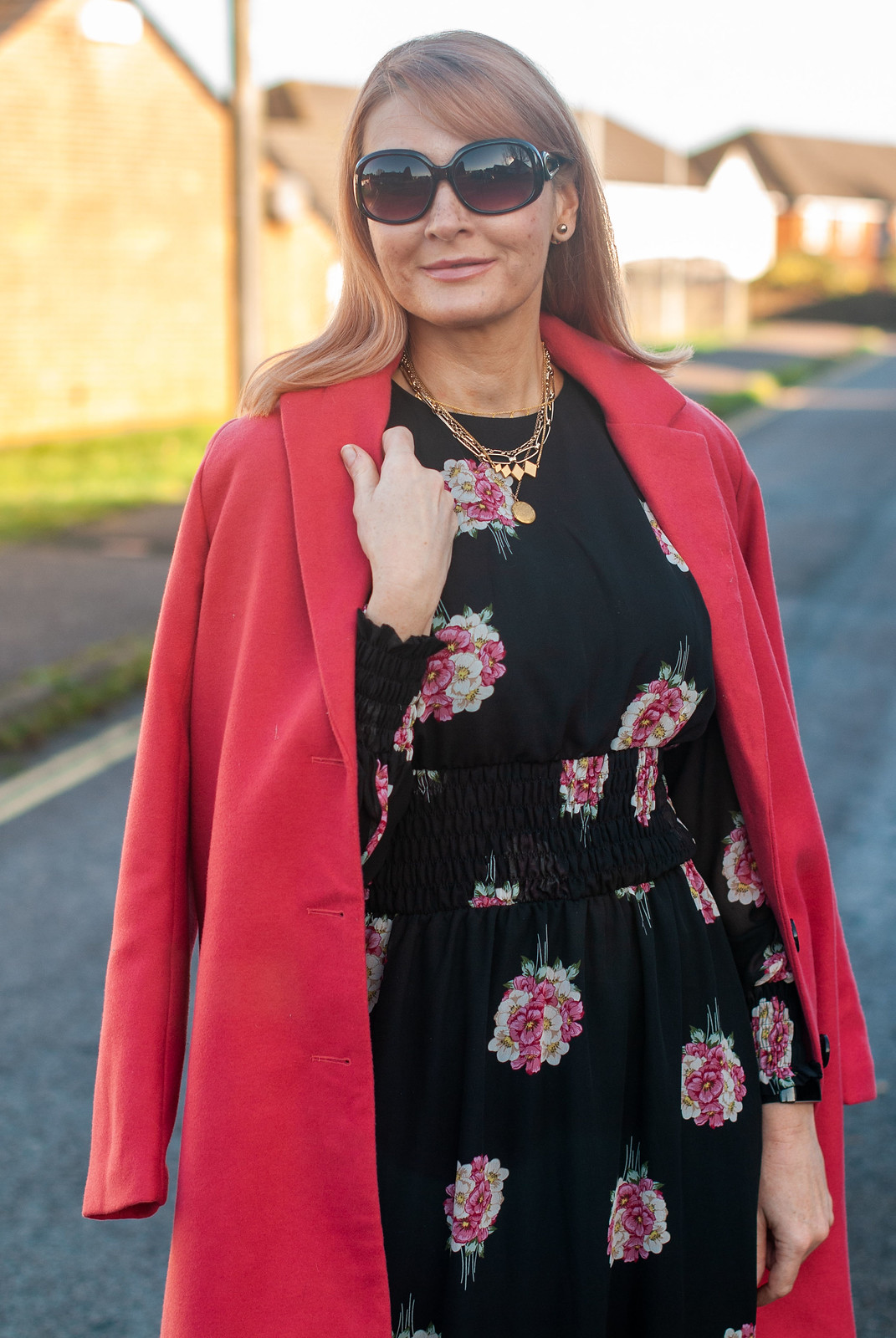 Christmas Day Outfit: A Floaty Black Floral Dress | Not Dressed As Lamb, Over 40 Fashion Blog