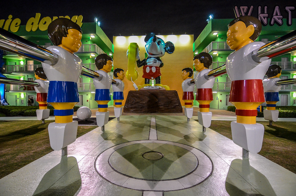 Mickey and Foosball Pop Century night