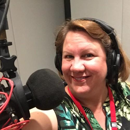 radio studio selfie