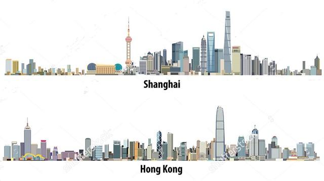 Skylines de Shanghai y Hong Kong