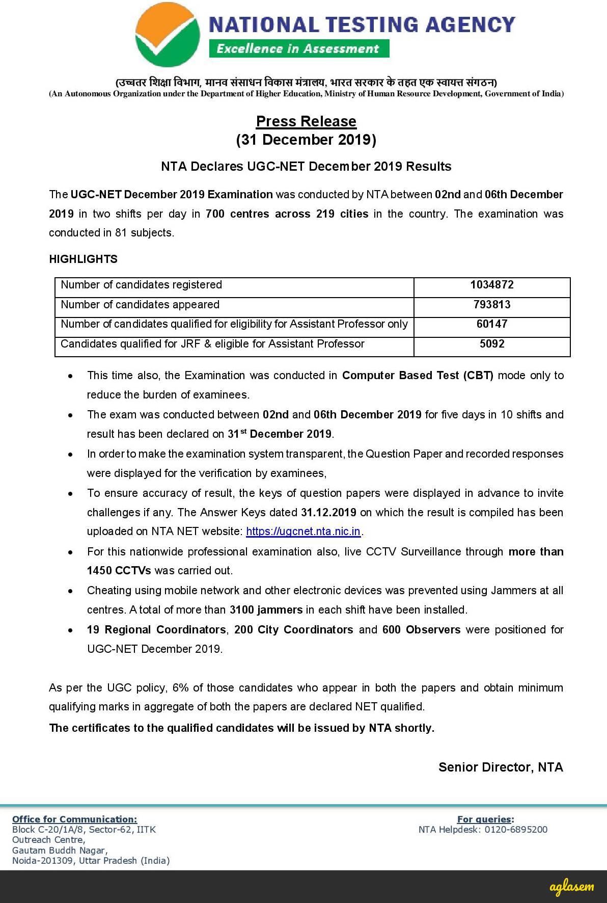UGC NET Result Dec 2019