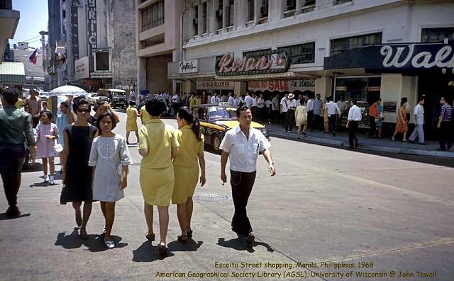 Escolta Street shopping, Manila, Philippines, 1968