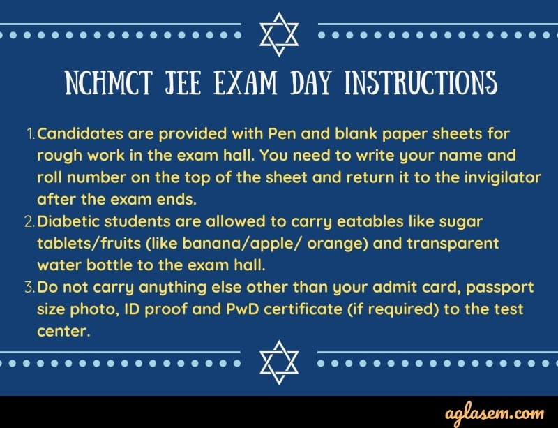 NCHMCT JEE exam day instructions