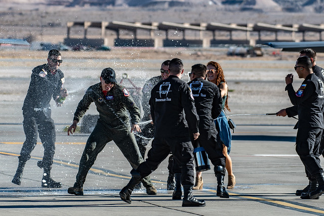 Captain Andy 'Dojo' Olson after his Fini Flight as F-35A Demo Pilot