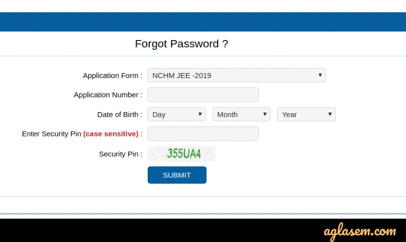 NCHM JEE 2020 forgot password