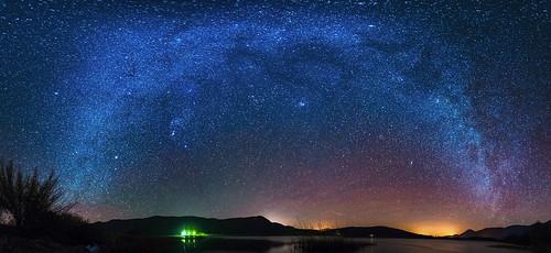 Panorama Milky way in Štikada lake