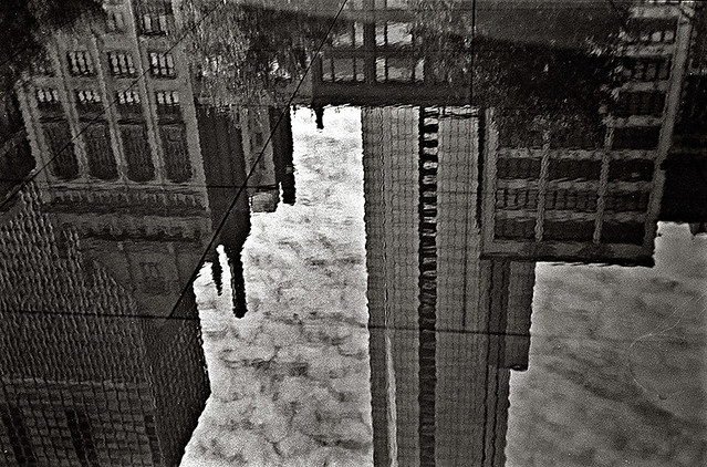 Chicago Sidewalk Reflections after Rain-Michigan Ave.