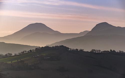 countryside haze hills italia italy landscape layers marche marcheregion nature sunrise winter arcevia provinceofancona