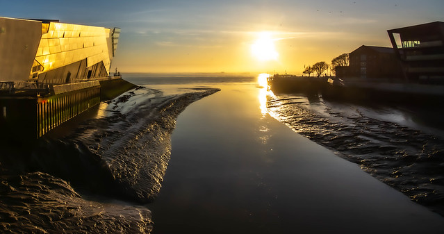 The meeting point of the River Hull and the River Humber, UK