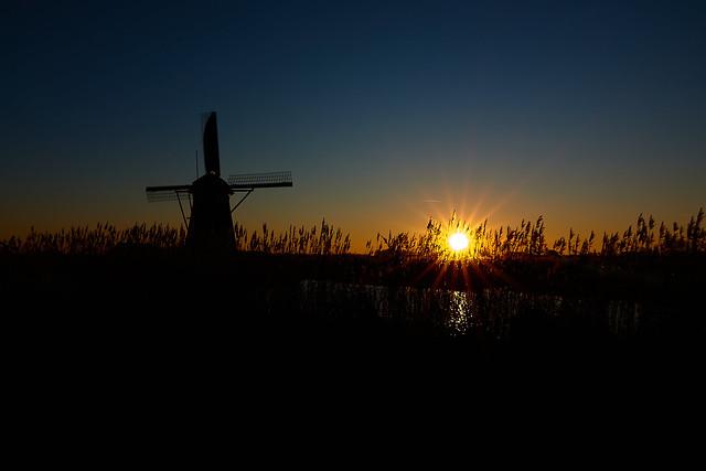 Kinderdijk at sunset