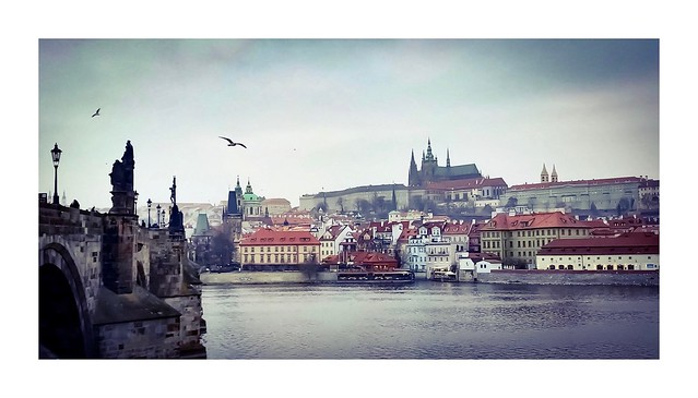 Gray skies over the Vltava River, Prague