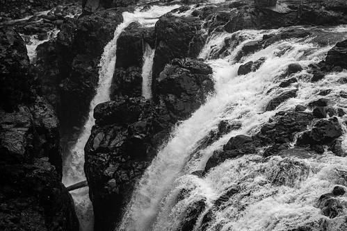 englishman river falls park waterfall water rocks black white bw