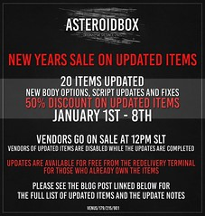 New Years sale on Update Items - January 1st - 8th