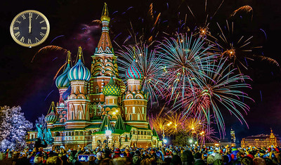 Moscow. Red square. New Year. Salute.