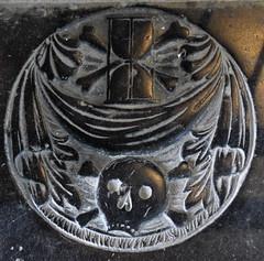 hourglass and crossed bones, winding sheet and skull with crossed bones