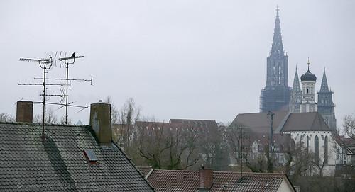 Ulm (il Munster dalla finestra del Riku Hotel, Neu Ulm)