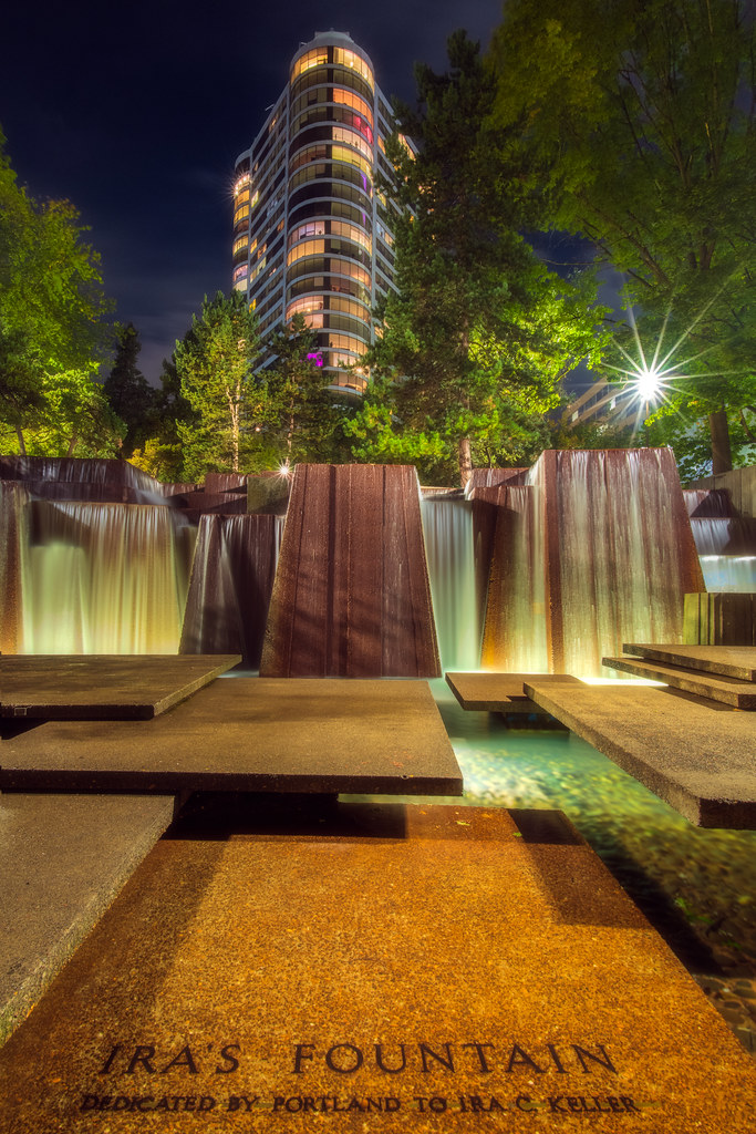 The beautiful Keller Fountain in the heart of downtown Portland, Oregon at night. I blended several exposures for retaining full highlight detail.  Happy New Year everyone!