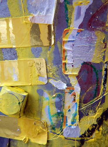 Yellow dripped paint collage