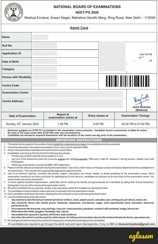 NEET PG 2020 Admit Card