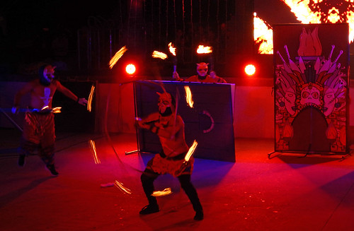 Demons playing with fire at the acrobatic show at the amphitheatre in Puerto Vallarta, Mexico