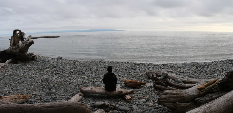 Panorama view from our campsite at Walbran Creek looking out over the ocean
