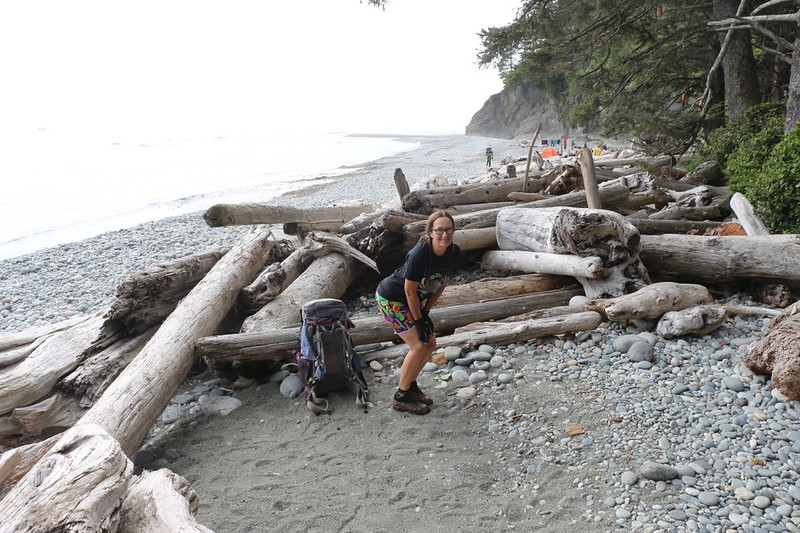 We found a good spot well above high tide at the Walbran Creek Campsite on the West Coast Trail