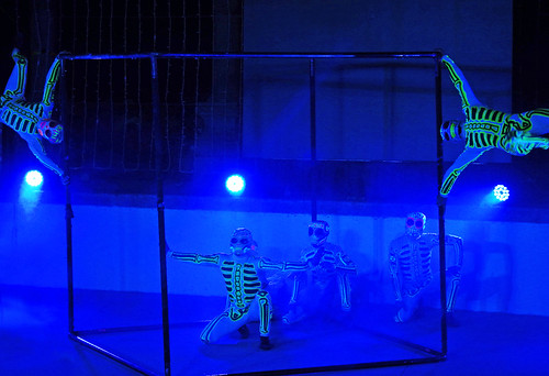 Fluorescent skeletons take over the stage at the acrobatic show at the amphitheatre in Puerto Vallarta, Mexico