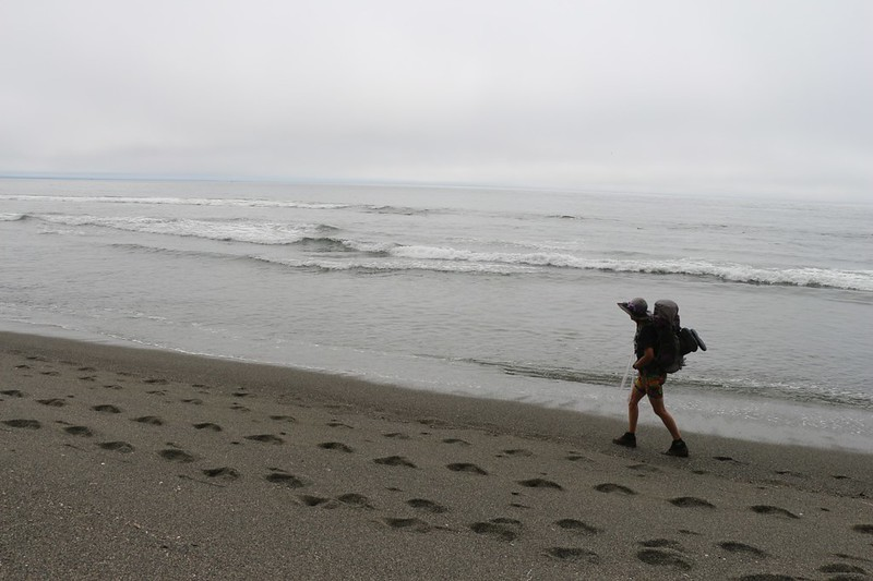 Slogging on the gravel beach of the West Coast Trail as we near Vancouver Point - deep footprints mean work!