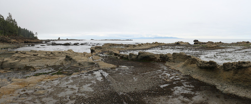 Foreshore rock flats and tide pools at low tide as we near Bonilla Point on the West Coast Trail