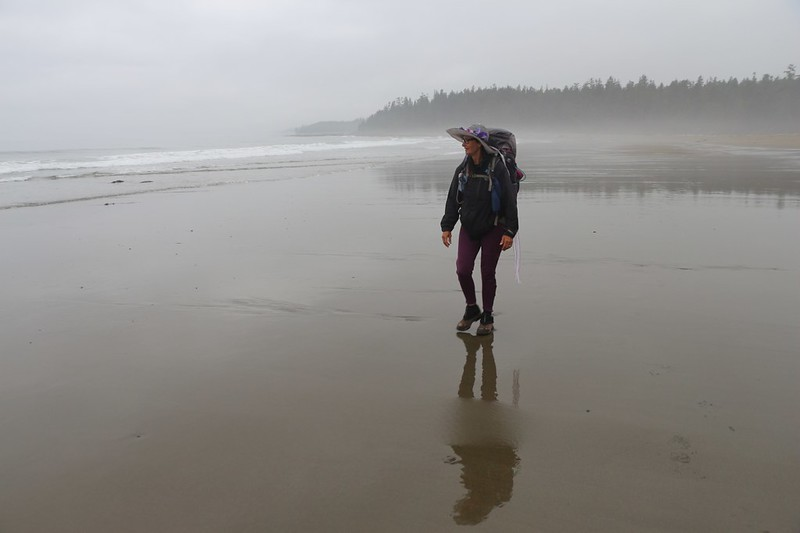 It's a cool morning in the mist as we hike along the smooth sand at low tide, south of Cribs Creek on the WCT