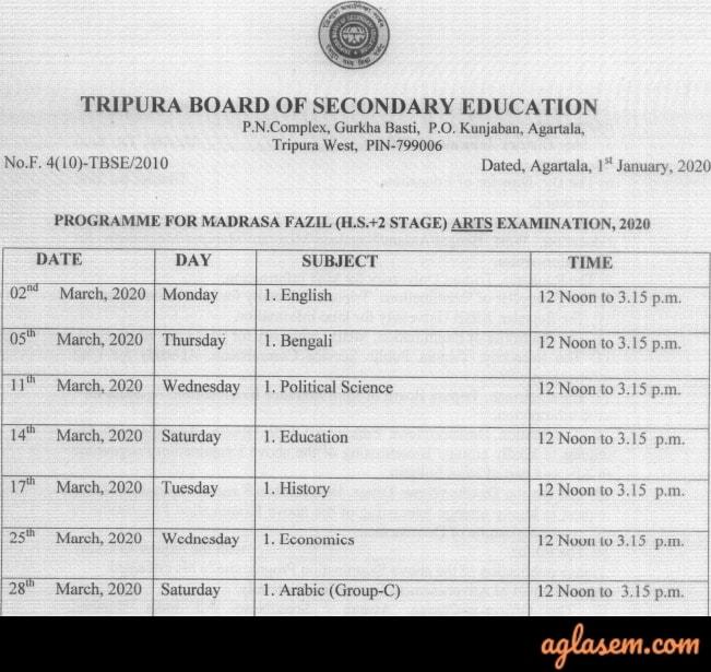 Tripura Madrasa Routine 2020 (Available) | TBSE Madrasa Time Table 2020