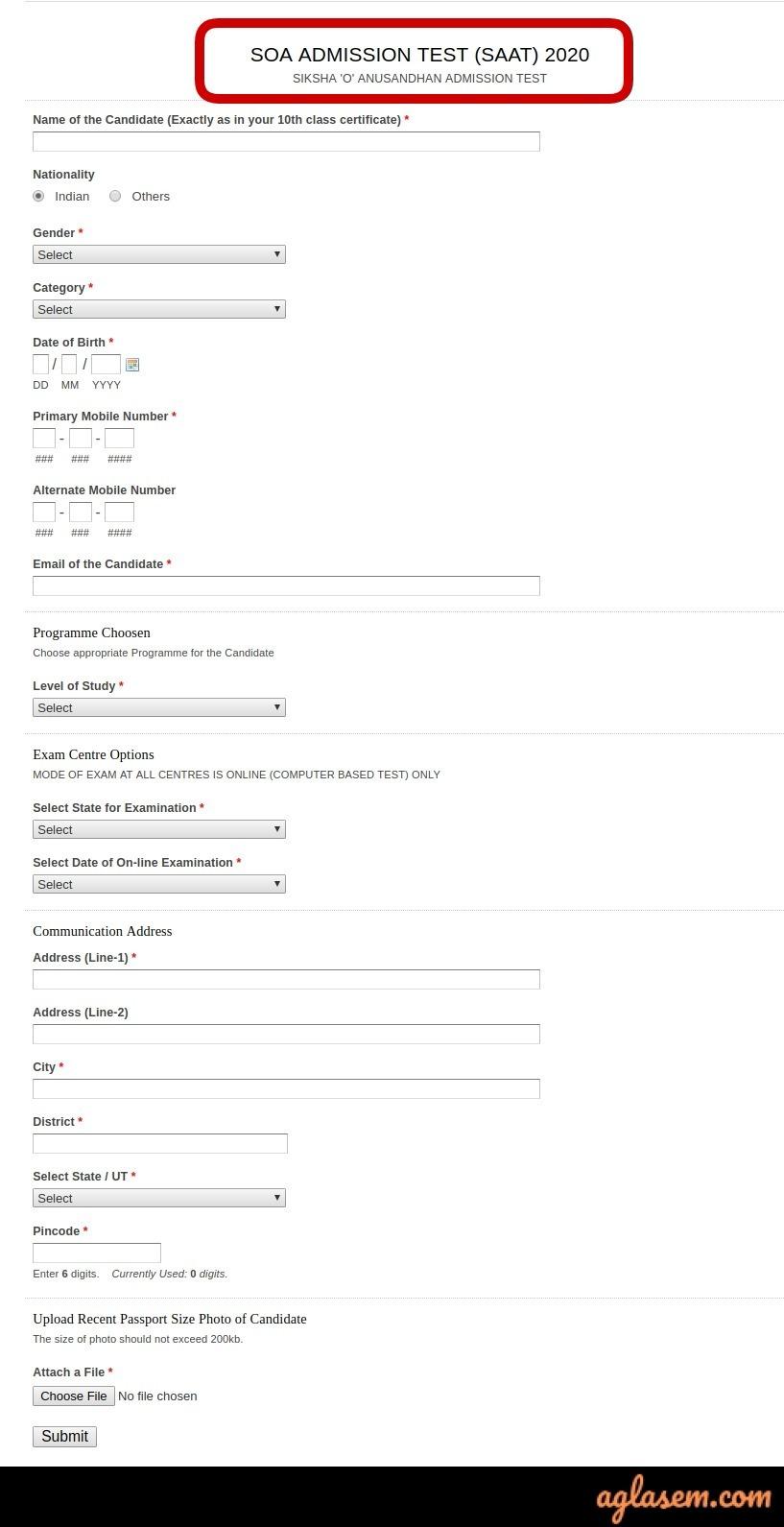 SAAT 2020 Application Form