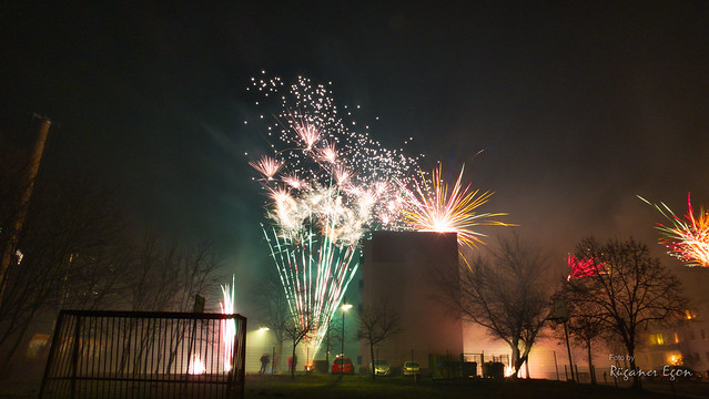 Das kleine Feuerwerk zum Jahreswechsel in Samtens