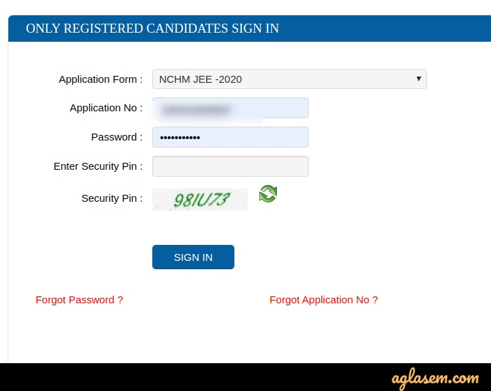 NCHMCT JEE 2020 candidate login