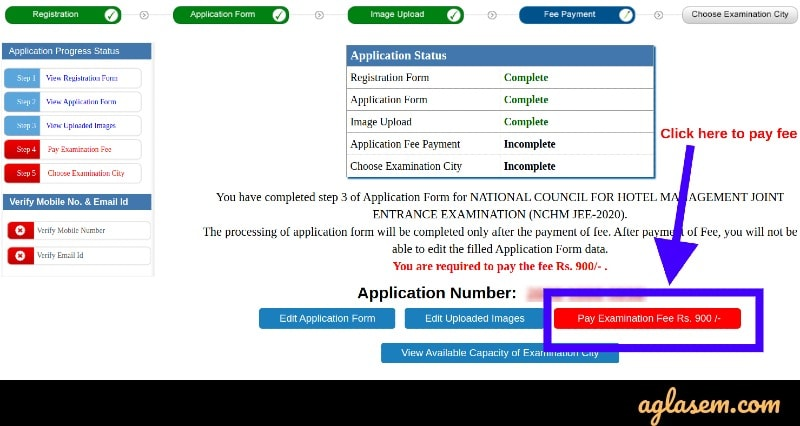 NCHCMT JEE 2020 application fee