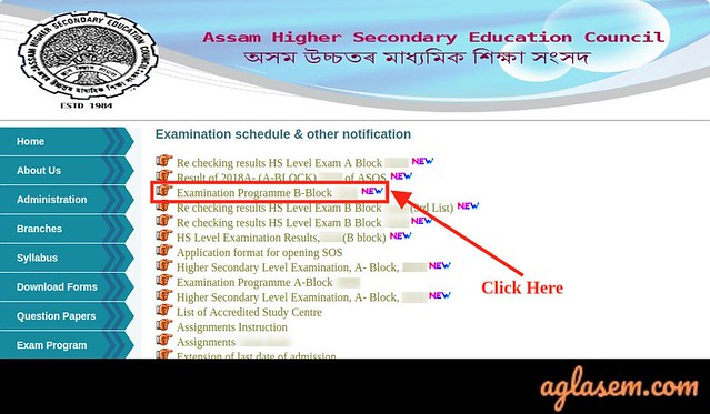 Assam State Open School Routine 2020