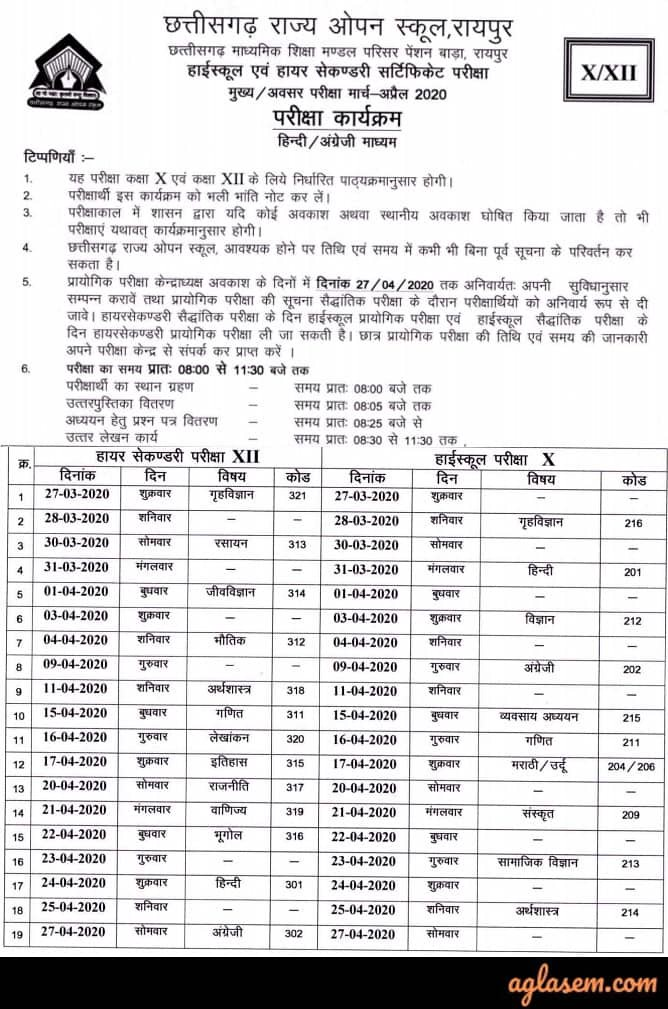 CGSOS 10th Time Table March 2020