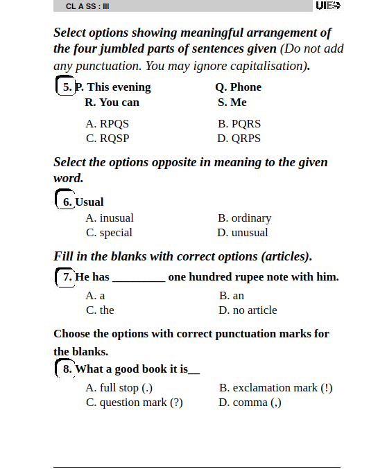 Sample Paper of UIEO for Class 3rd