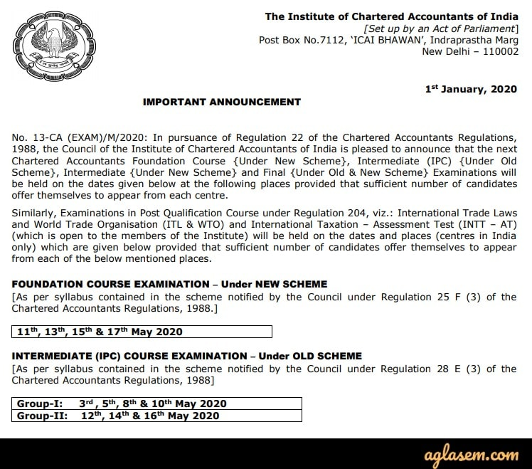 CA Foundation May 2020 exam date