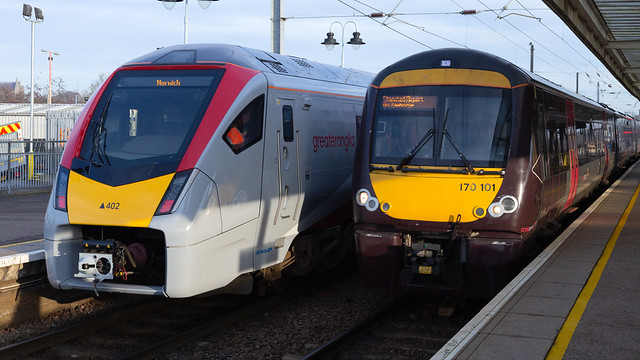 Greater Anglia Class 755402 and Cross Country Class 170101