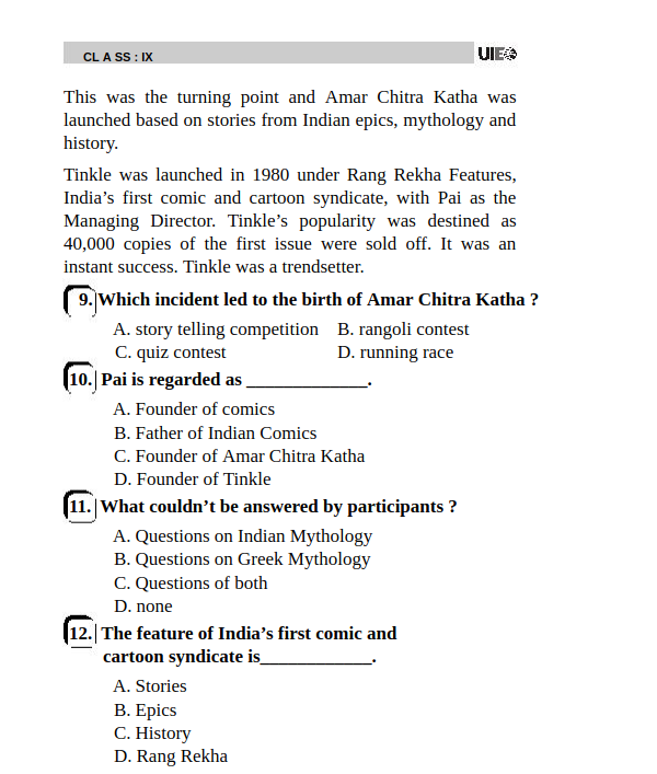 UIEO Sample Paper for Class 9